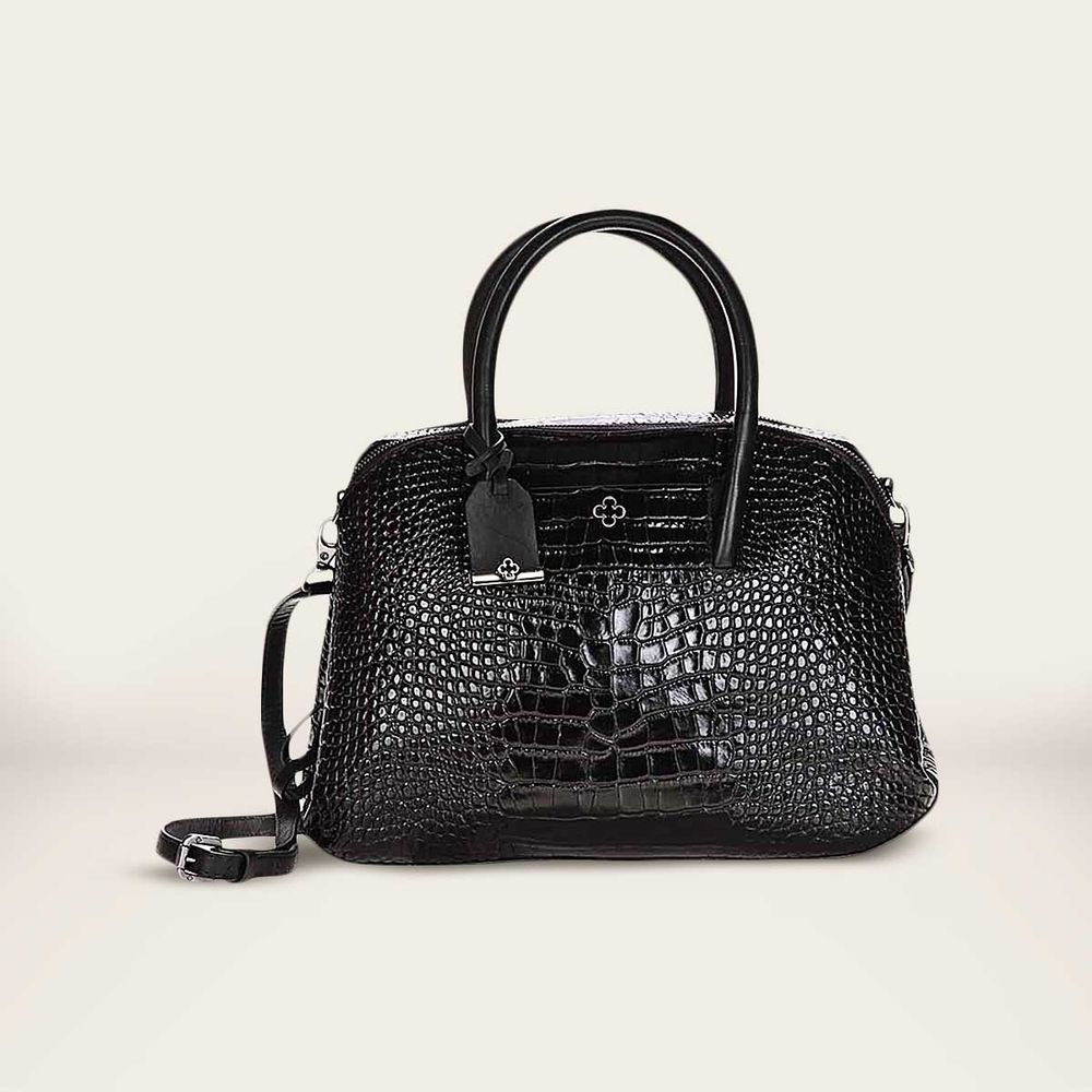 Bolsa Feminina De Couro Capodarte : Bolsa tote croco preta preto capodarte