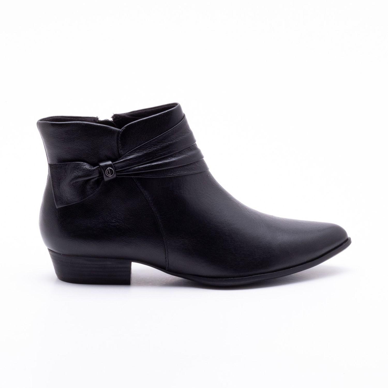 7f2414b22 Ankle Boot Comfy Couro Preta Preto - dumond