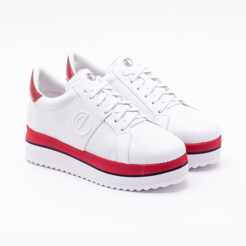 86e18c6f3 Tênis Flatform Branco Branco e Vermelho Deluxe - dumond